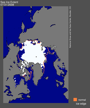 NSIDC daily sea ice image July 31, 2008